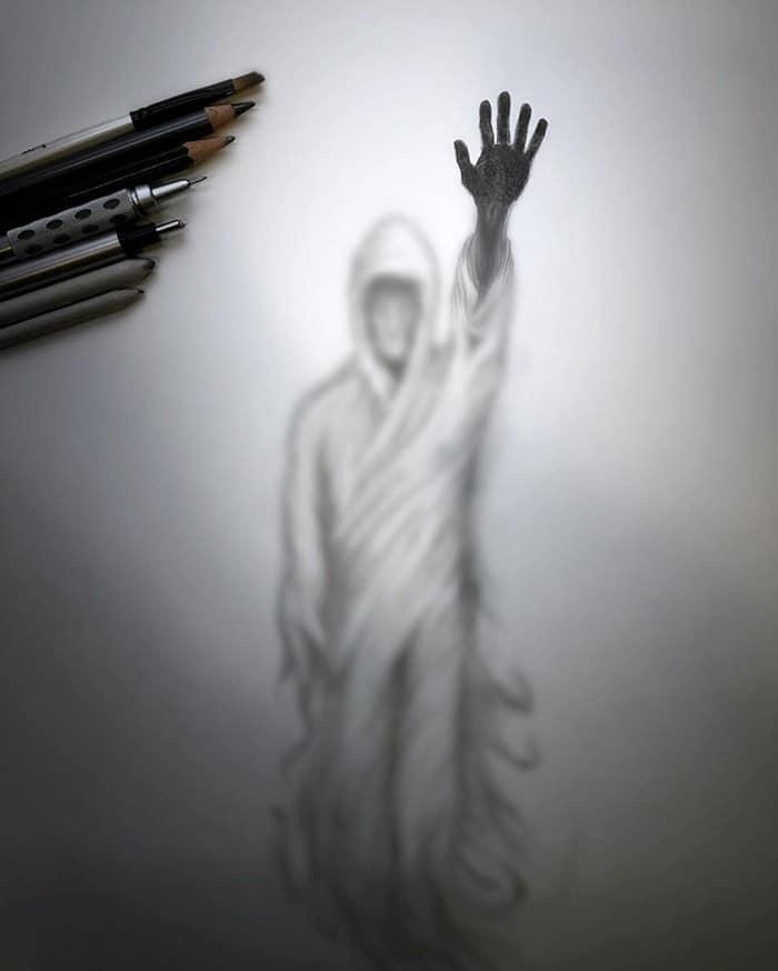Artista cria desenhos assombrosos que parecem ter vindo do além (28 fotos) 3