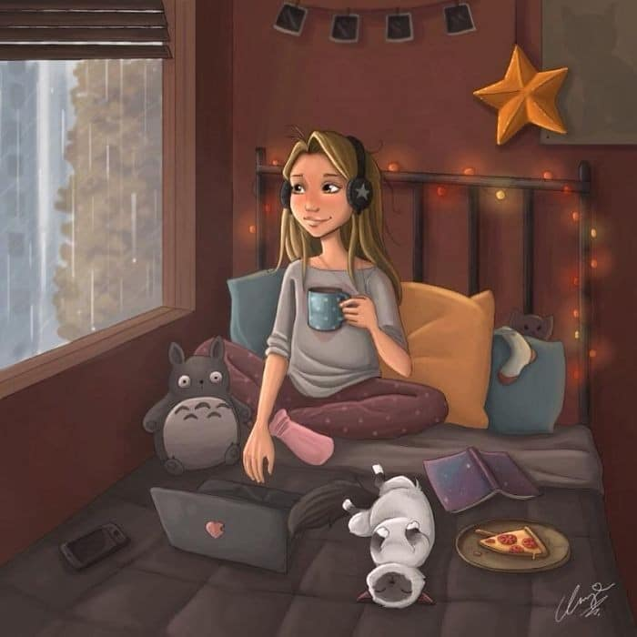 Artista ilustra a vida cotidiana com um gato nesses 31 quadrinhos 4