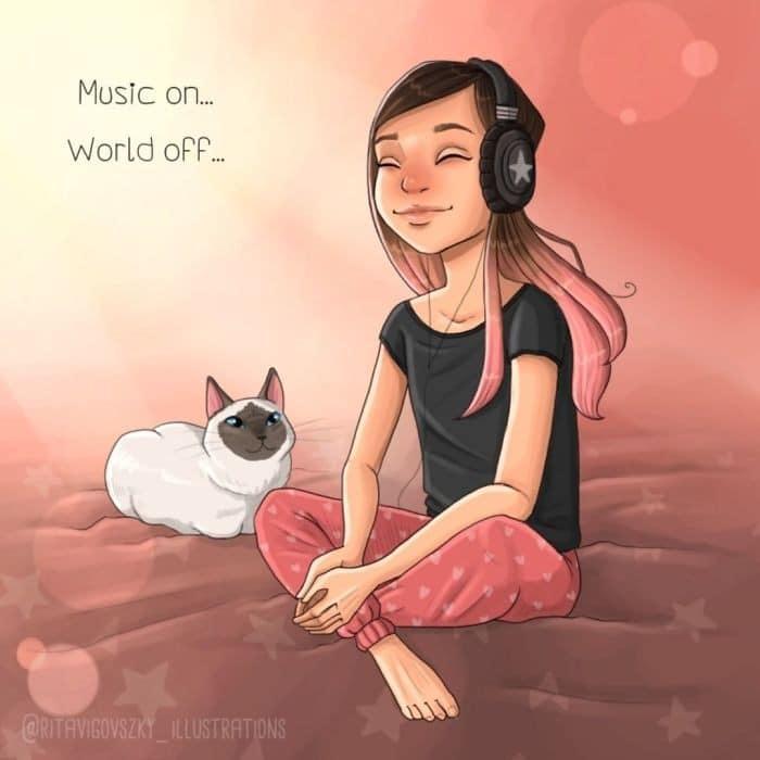 Artista ilustra a vida cotidiana com um gato nesses 31 quadrinhos 23