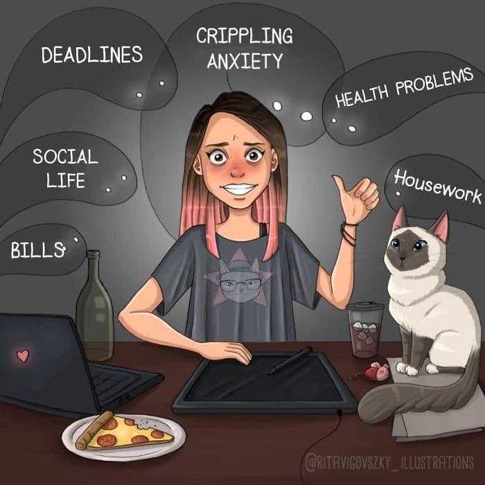 Artista ilustra a vida cotidiana com um gato nesses 31 quadrinhos 32