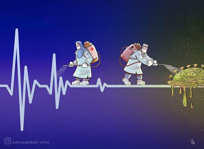 Artista iraniano mostra a dura realidade dos médicos durante surto de coronavírus (29 fotos) 3