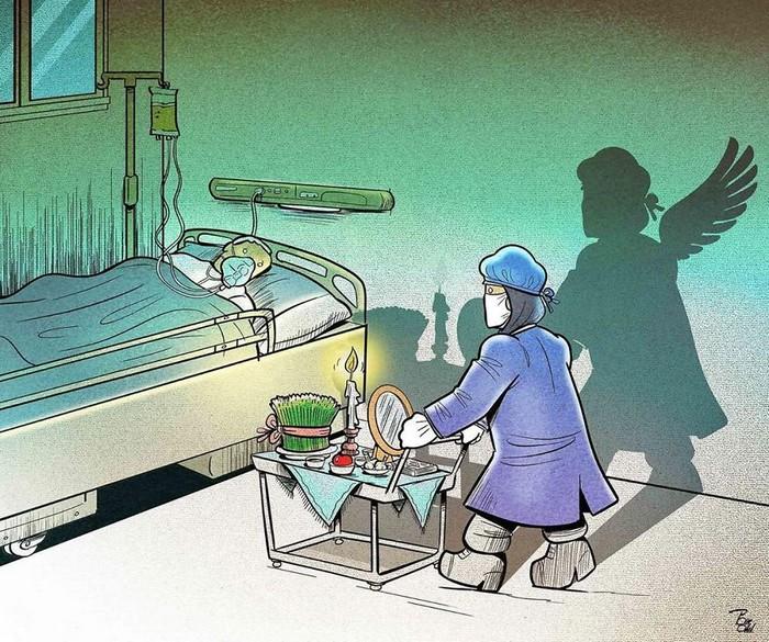 Artista iraniano mostra a dura realidade dos médicos durante surto de coronavírus (29 fotos) 11