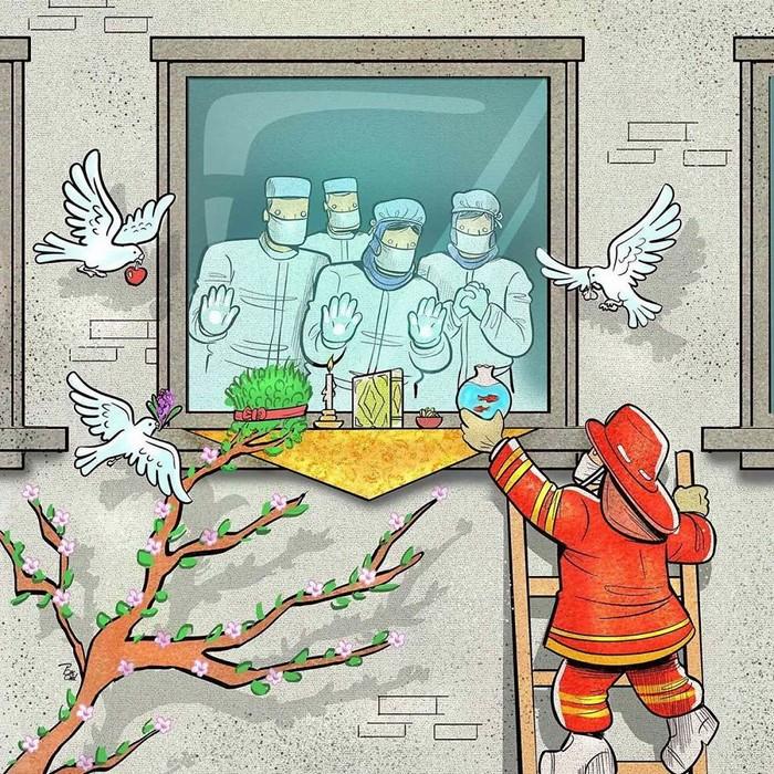 Artista iraniano mostra a dura realidade dos médicos durante surto de coronavírus (29 fotos) 12