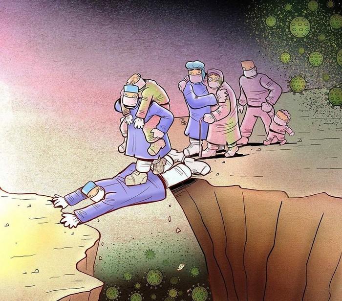 Artista iraniano mostra a dura realidade dos médicos durante surto de coronavírus (29 fotos) 13