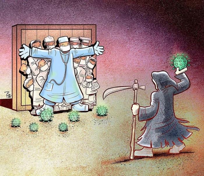 Artista iraniano mostra a dura realidade dos médicos durante surto de coronavírus (29 fotos) 14