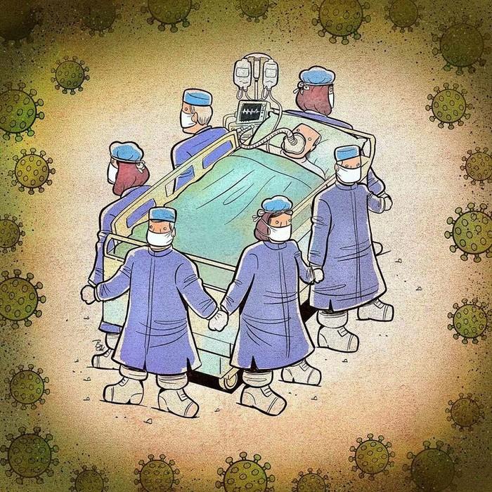 Artista iraniano mostra a dura realidade dos médicos durante surto de coronavírus (29 fotos) 15