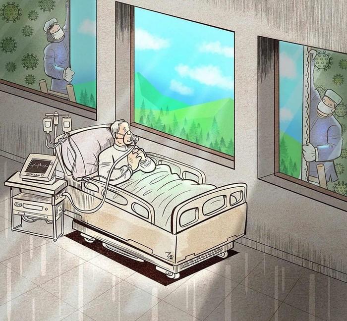 Artista iraniano mostra a dura realidade dos médicos durante surto de coronavírus (29 fotos) 16