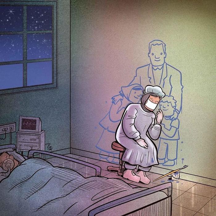 Artista iraniano mostra a dura realidade dos médicos durante surto de coronavírus (29 fotos) 21
