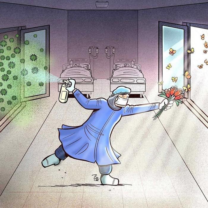 Artista iraniano mostra a dura realidade dos médicos durante surto de coronavírus (29 fotos) 22