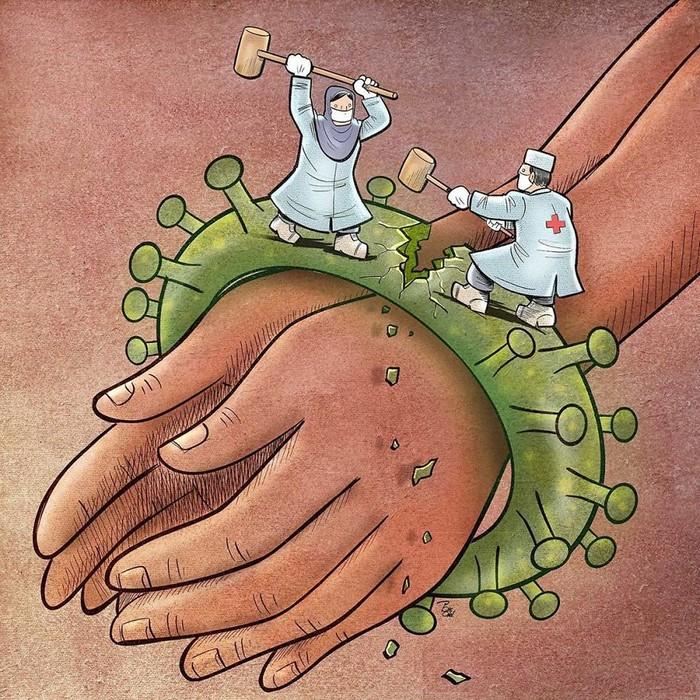 Artista iraniano mostra a dura realidade dos médicos durante surto de coronavírus (29 fotos) 25
