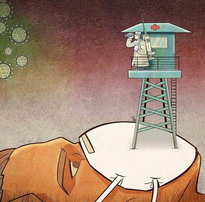 Artista iraniano mostra a dura realidade dos médicos durante surto de coronavírus (29 fotos) 26