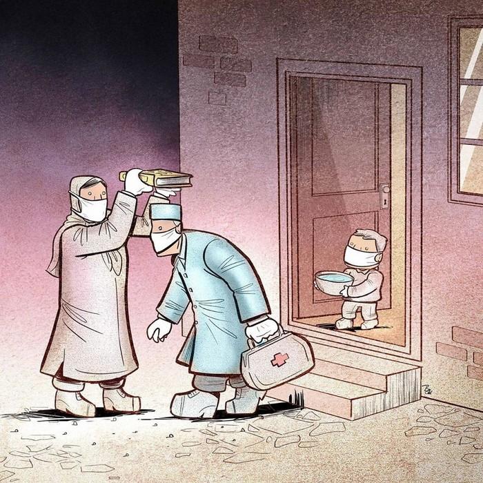 Artista iraniano mostra a dura realidade dos médicos durante surto de coronavírus (29 fotos) 29