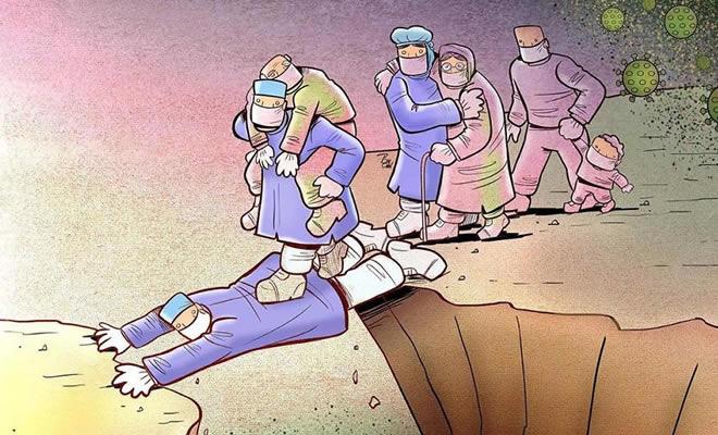 Artista iraniano mostra a dura realidade dos médicos durante surto de coronavírus (29 fotos) 24