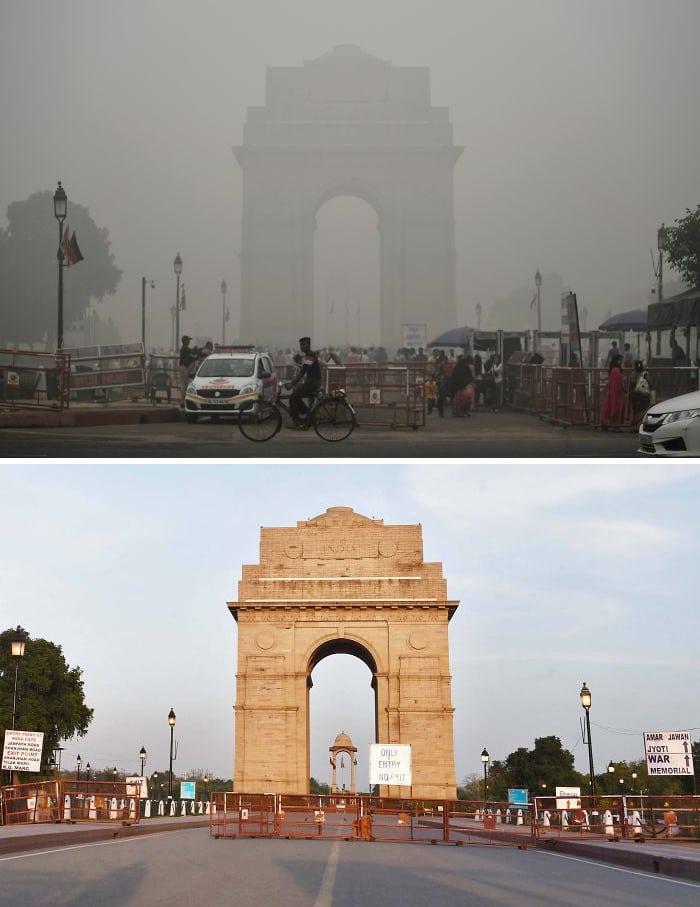 11 comparações antes e depois mostrando o efeito positivo da quarentena na poluição 2