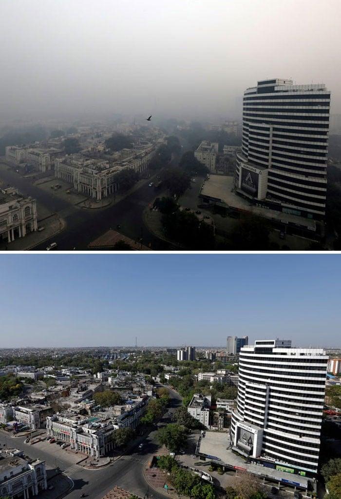 11 comparações antes e depois mostrando o efeito positivo da quarentena na poluição 4