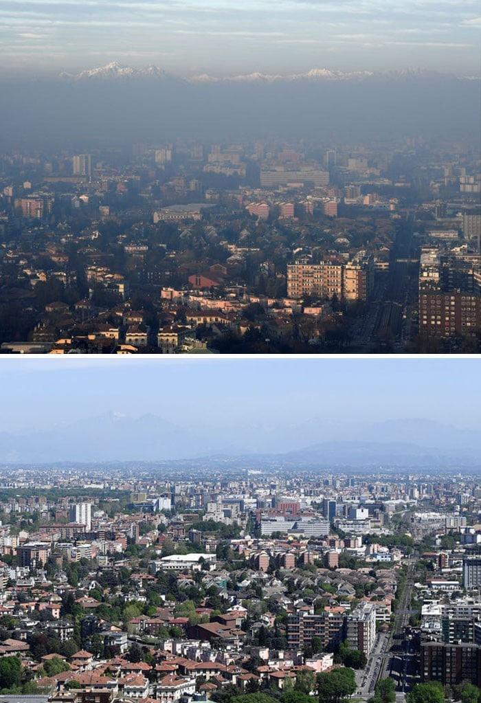 11 comparações antes e depois mostrando o efeito positivo da quarentena na poluição 5
