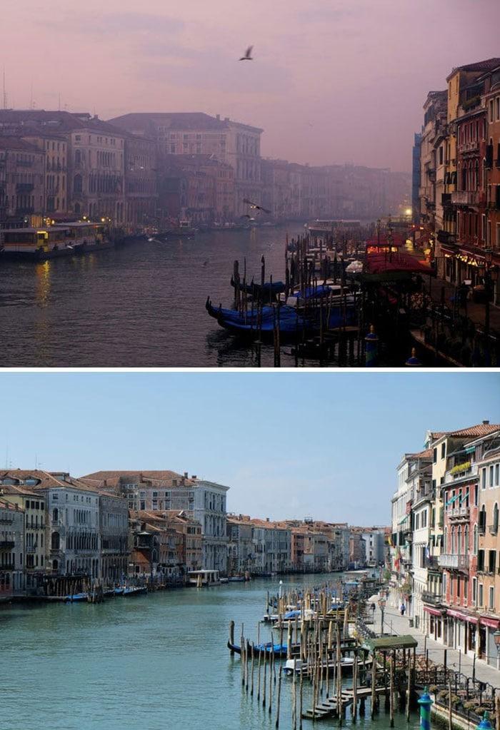 11 comparações antes e depois mostrando o efeito positivo da quarentena na poluição 7
