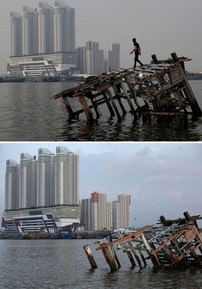 11 comparações antes e depois mostrando o efeito positivo da quarentena na poluição 8
