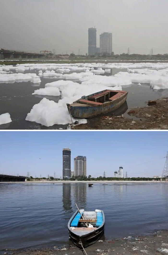 11 comparações antes e depois mostrando o efeito positivo da quarentena na poluição 9