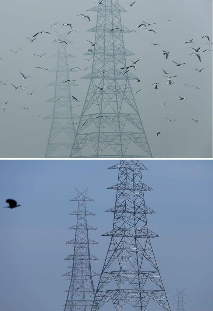 11 comparações antes e depois mostrando o efeito positivo da quarentena na poluição 10
