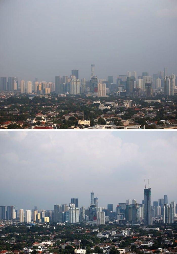 11 comparações antes e depois mostrando o efeito positivo da quarentena na poluição 11