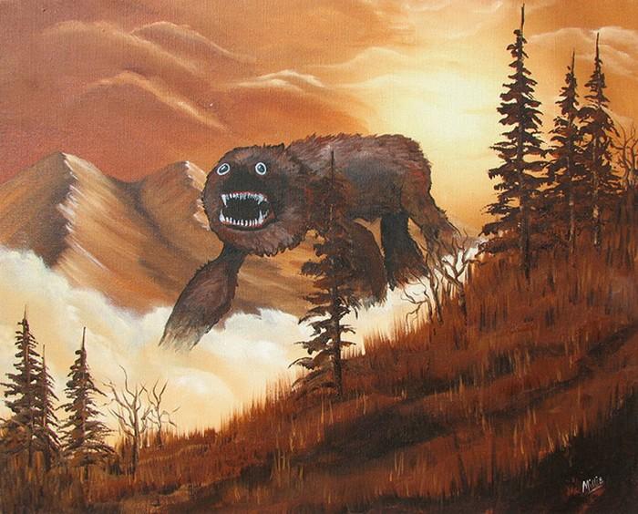 Este artista adiciona monstros às pinturas de brechós, e é hilário (21 fotos) 2
