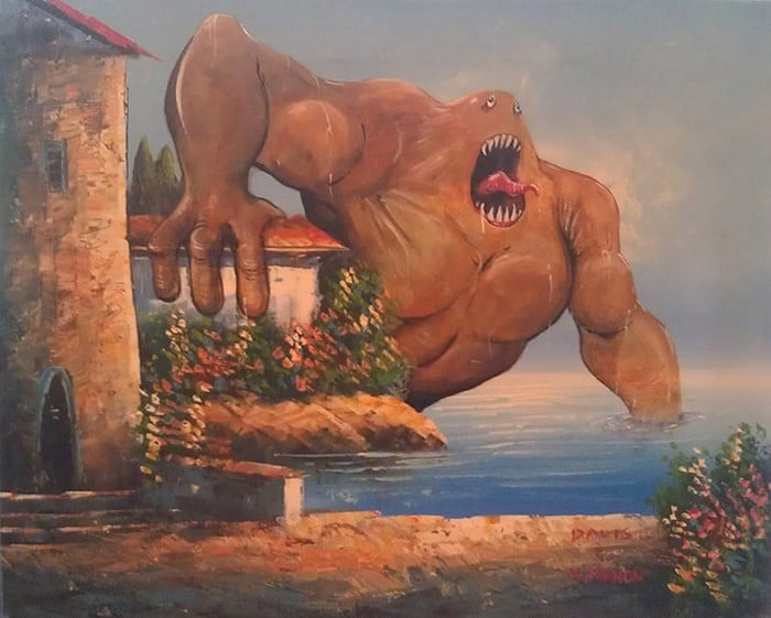 Este artista adiciona monstros às pinturas de brechós, e é hilário (21 fotos) 3