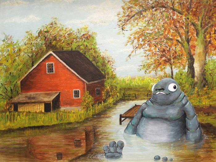 Este artista adiciona monstros às pinturas de brechós, e é hilário (21 fotos) 7