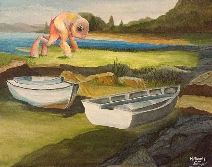 Este artista adiciona monstros às pinturas de brechós, e é hilário (21 fotos) 9