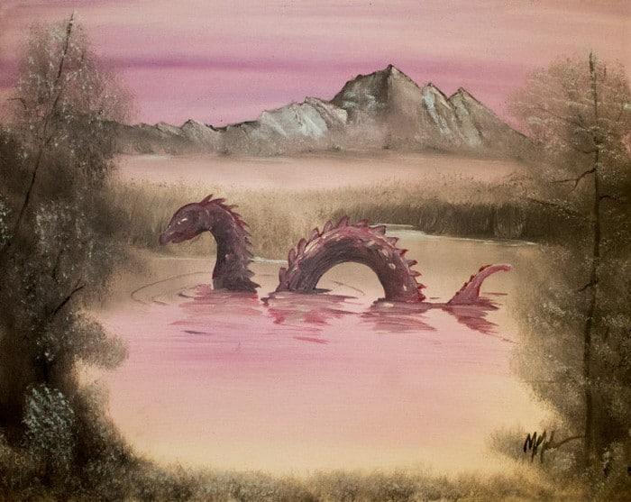Este artista adiciona monstros às pinturas de brechós, e é hilário (21 fotos) 10