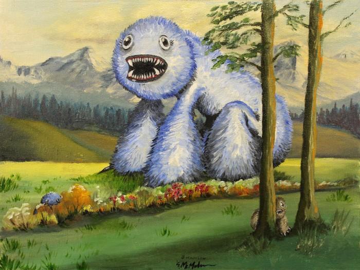 Este artista adiciona monstros às pinturas de brechós, e é hilário (21 fotos) 11