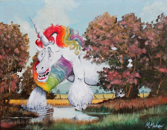 Este artista adiciona monstros às pinturas de brechós, e é hilário (21 fotos) 13