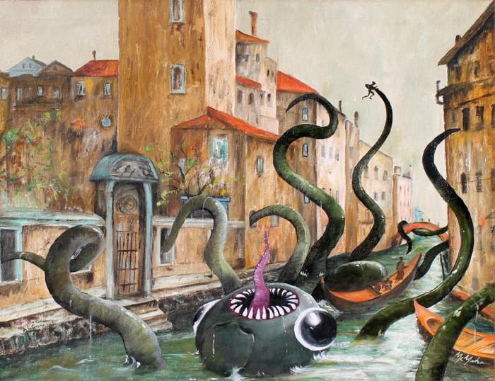 Este artista adiciona monstros às pinturas de brechós, e é hilário (21 fotos) 16