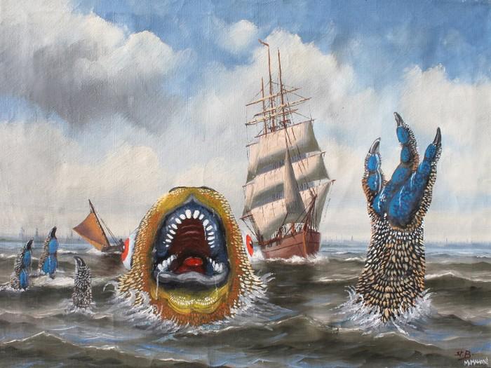 Este artista adiciona monstros às pinturas de brechós, e é hilário (21 fotos) 17