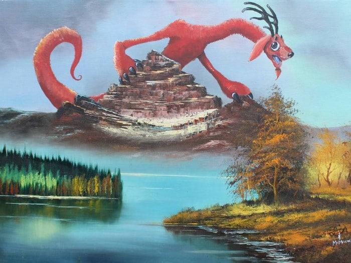Este artista adiciona monstros às pinturas de brechós, e é hilário (21 fotos) 19