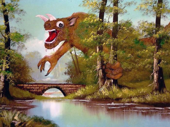 Este artista adiciona monstros às pinturas de brechós, e é hilário (21 fotos) 21