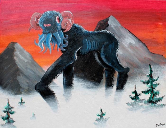 Este artista adiciona monstros às pinturas de brechós, e é hilário (21 fotos) 22