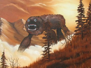 Este artista adiciona monstros às pinturas de brechós, e é hilário (21 fotos) 8