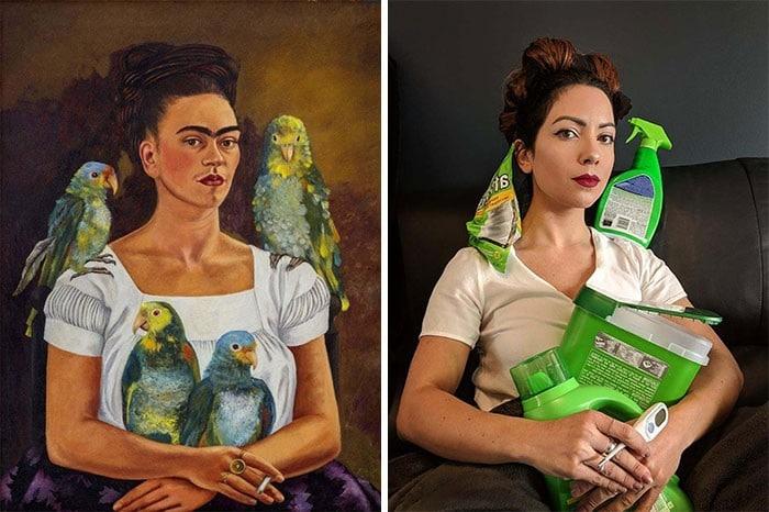 40 pessoas criativas que recriaram pinturas famosas com coisas que encontraram em casa 3