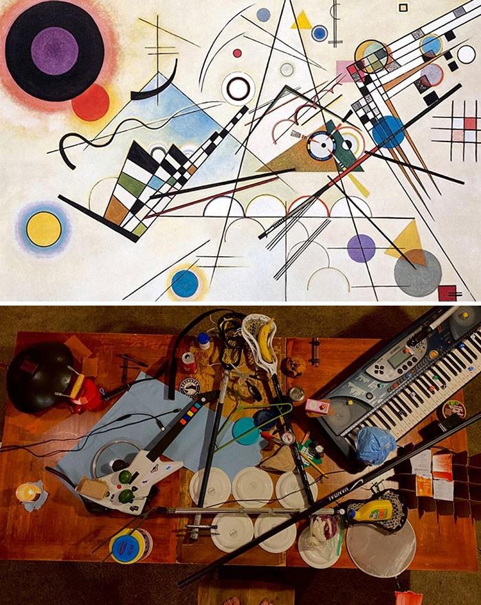 40 pessoas criativas que recriaram pinturas famosas com coisas que encontraram em casa 5