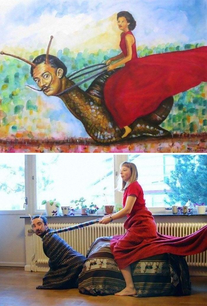 40 pessoas criativas que recriaram pinturas famosas com coisas que encontraram em casa 7