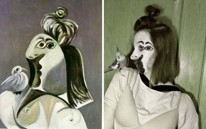 40 pessoas criativas que recriaram pinturas famosas com coisas que encontraram em casa 10