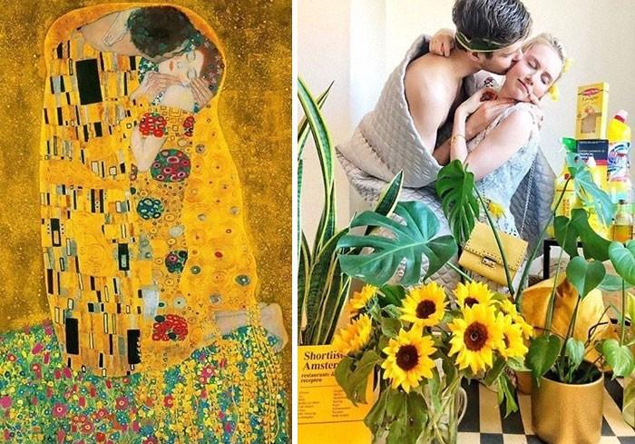 40 pessoas criativas que recriaram pinturas famosas com coisas que encontraram em casa 17