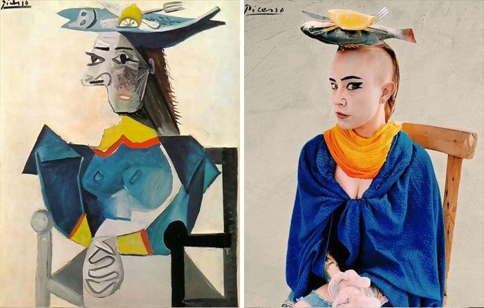 40 pessoas criativas que recriaram pinturas famosas com coisas que encontraram em casa 22