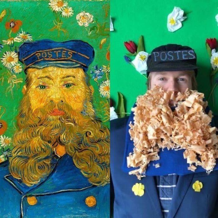 40 pessoas criativas que recriaram pinturas famosas com coisas que encontraram em casa 31