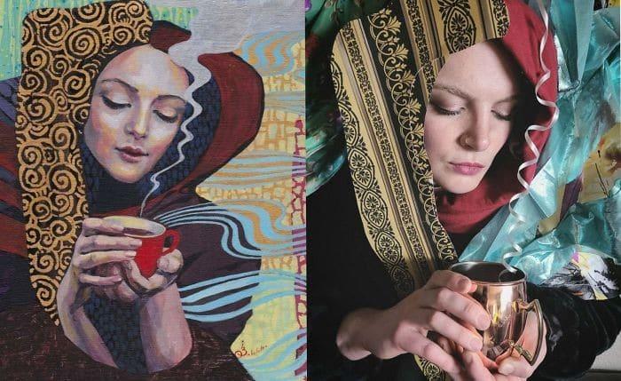 40 pessoas criativas que recriaram pinturas famosas com coisas que encontraram em casa 41