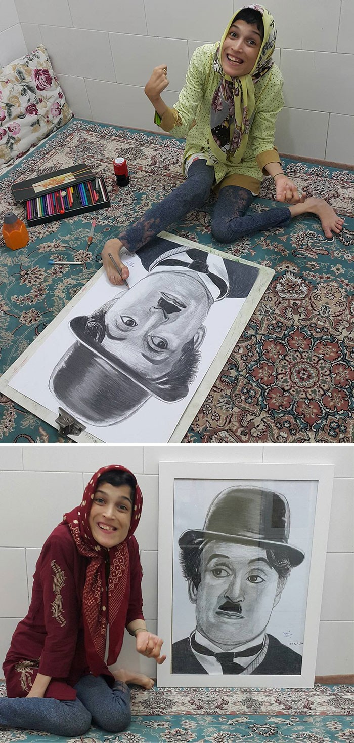 35 retratos incríveis desta artista iraniana com deficiência que usa apenas o Pé 6