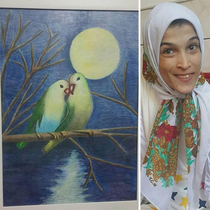 35 retratos incríveis desta artista iraniana com deficiência que usa apenas o Pé 7