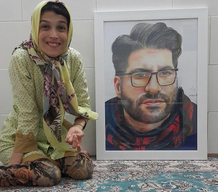 35 retratos incríveis desta artista iraniana com deficiência que usa apenas o Pé 12