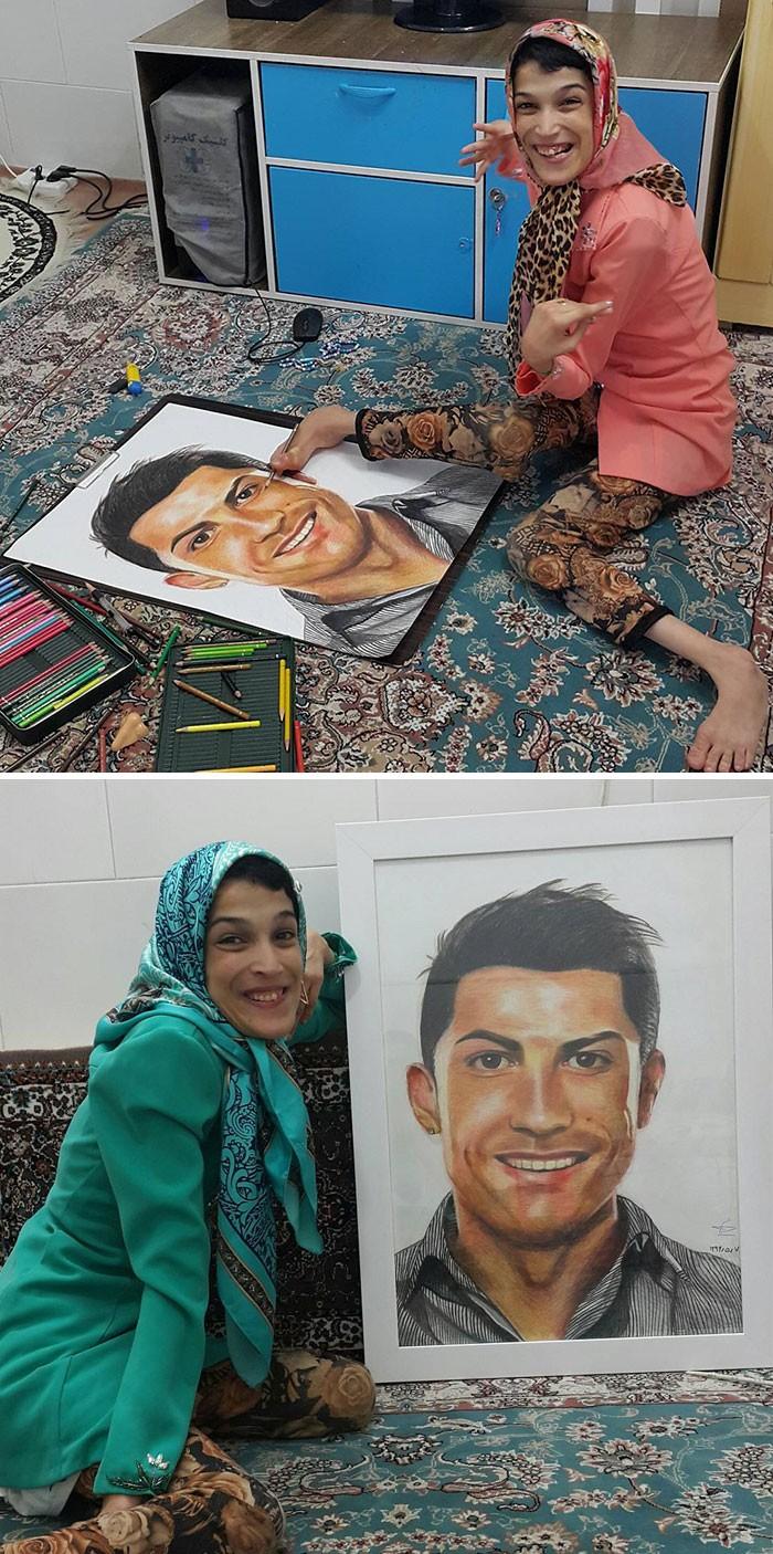 35 retratos incríveis desta artista iraniana com deficiência que usa apenas o Pé 35